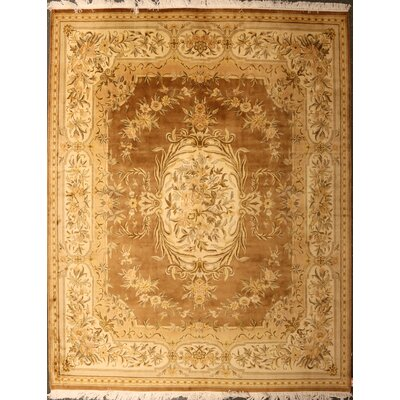 Pylant One-of-a-Kind Pakistani Savonnerie Hand-Knotted Wool Brown Area Rug