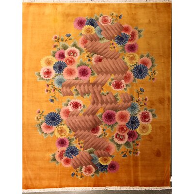 Odegaard One-of-a-Kind Chinese Art Deco Floral Hand-Knotted Wool Yellow Area Rug