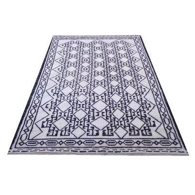Moroccan Genuine Hand-Knotted Wool Blue Area Rug