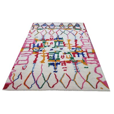 Moroccan Genuine Hand-Knotted Wool Pink/Green Area Rug