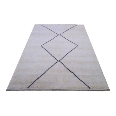 Moroccan Genuine Hand-Knotted Wool Gray/Blue Area Rug Rug Size: Rectangle 64 x 811