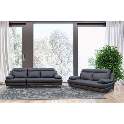 Romaine 2 Piece Living Room Set Upholstery: Dark Brown