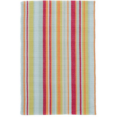 Clara Stripe Hand-Woven Cotton Red/Yellow Area Rug Rug Size: Runner 26 x 12