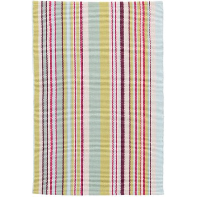 Joelle Stripe Hand-Woven Cotton Blue/Green Area Rug Rug Size: Rectangle 2 x 3