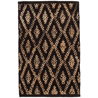 Two-Tone Diamond Hand-Woven Black Area Rug Rug Size: Runner 26 x 8