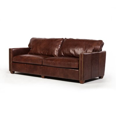 Deblois Leather Loveseat Upholstery : Chestnut Brown