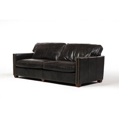 Deblois Leather Loveseat Upholstery : Black