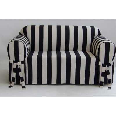 Stripe Box Cushion Slipcover Upholstery: Black, Size: 38 H x 72 W x 36 D