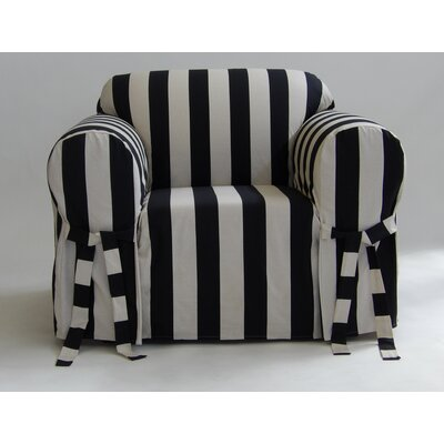 Stripe Box Cushion Armchair Slipcover Upholstery: Black/Cream