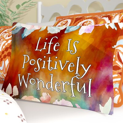 AlyZen Moonshadow Life is Positively Wonderful 1 Digital Sham Size: Queen