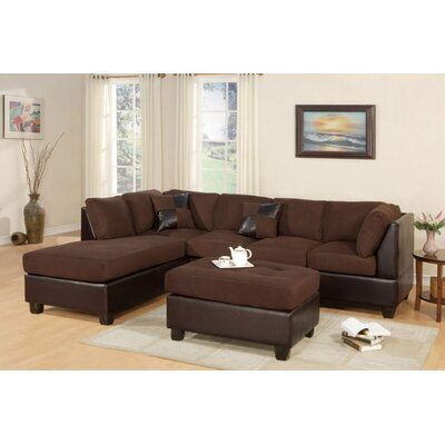 Fernald Reversible Sectional With Ottoman Upholstery: Chocolate