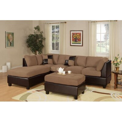 Fernald Reversible Sectional With Ottoman Upholstery: Saddle