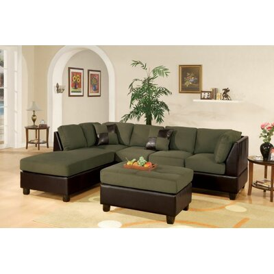 Fernald Reversible Sectional With Ottoman Upholstery: Sage