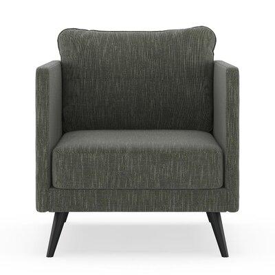 Crotts Armchair Upholstery: Spruce Gray, Finish: Black