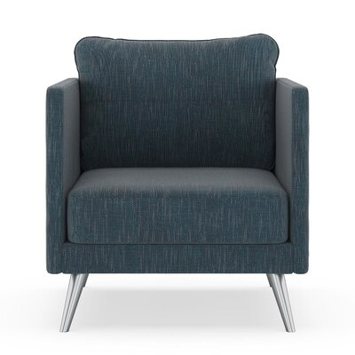 Crotts Armchair Upholstery: Navy Gray, Finish: Brass