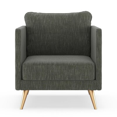 Crotts Armchair Upholstery: Spruce Gray, Finish: Chrome