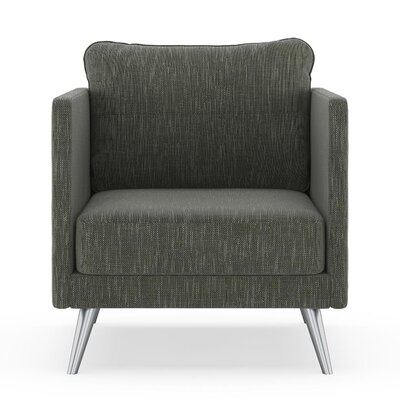 Crotts Armchair Upholstery: Spruce Gray, Finish: Brass