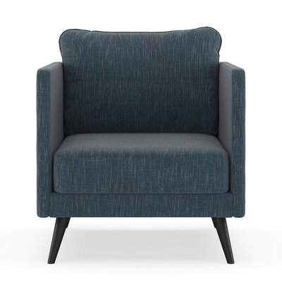 Crotts Armchair Upholstery: Navy Gray, Finish: Black