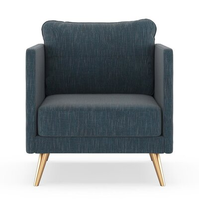 Crotts Armchair Upholstery: Navy Gray, Finish: Chrome