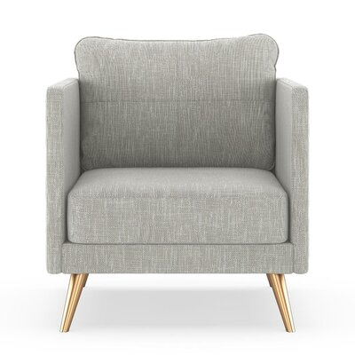 Crotts Armchair Upholstery: Cloud Gray, Finish: Chrome