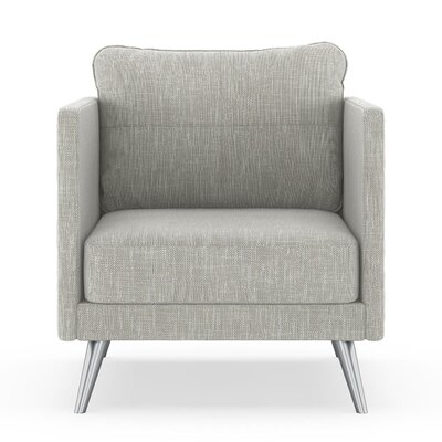 Crotts Armchair Upholstery: Cloud Gray, Finish: Brass