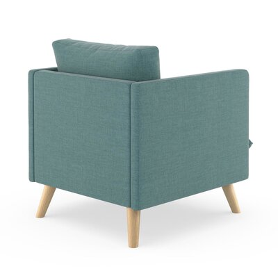 Rodgers Armchair Upholstery: Stone Blue, Finish: Natural