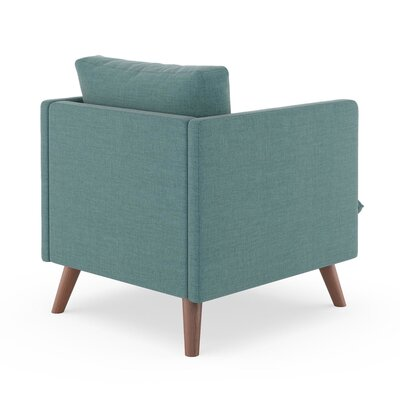 Rodgers Armchair Upholstery: Stone Blue, Finish: Walnut