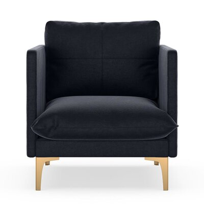 Sabina Armchair Upholstery: Midnight, Finish: Chrome
