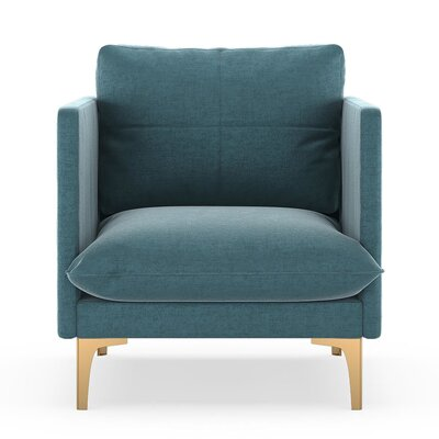 Sabina Armchair Upholstery: Steel Blue, Finish: Chrome