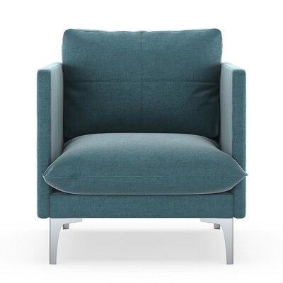 Sabina Armchair Upholstery: Steel Blue, Finish: Brass