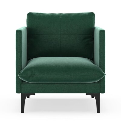 Sabina Armchair Upholstery: Jade Green, Finish: Black