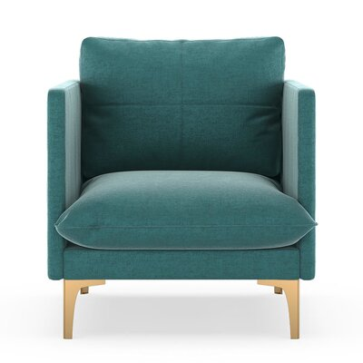 Sabina Armchair Upholstery: Blue Topaz, Finish: Chrome