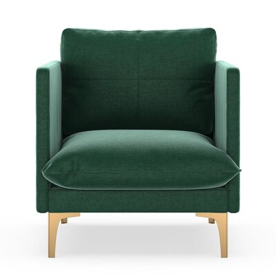 Sabina Armchair Upholstery: Jade Green, Finish: Chrome