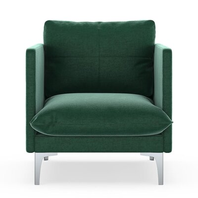Sabina Armchair Upholstery: Jade Green, Finish: Brass