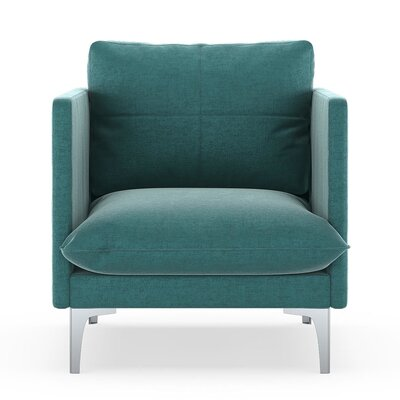 Sabina Armchair Upholstery: Blue Topaz, Finish: Brass