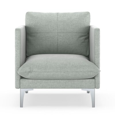 Sabina Armchair Upholstery: Silver Gray, Finish: Brass