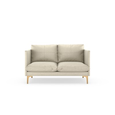 Sabina Loveseat Upholstery: Vanilla, Finish: Chrome