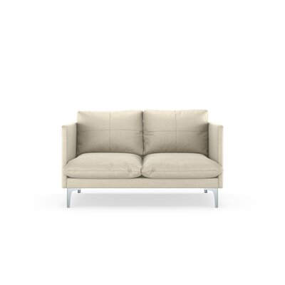 Sabina Loveseat Upholstery: Vanilla, Finish: Brass