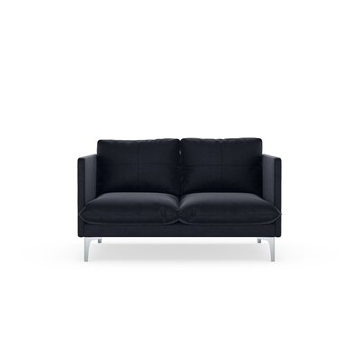 Sabina Loveseat Upholstery: Midnight, Finish: Brass