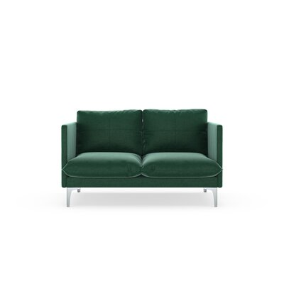 Sabina Loveseat Upholstery: Jade Green, Finish: Brass
