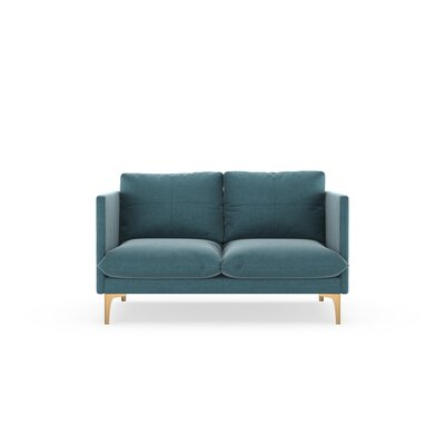 Sabina Loveseat Upholstery: Steel Blue, Finish: Chrome