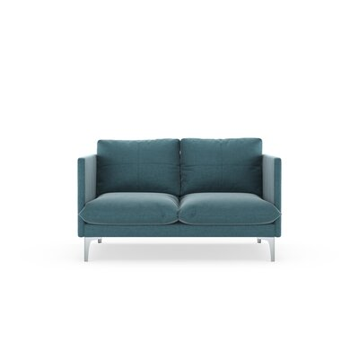 Sabina Loveseat Upholstery: Steel Blue, Finish: Brass