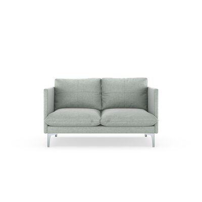Sabina Loveseat Upholstery: Silver Gray, Finish: Brass