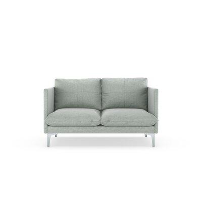 Sabina Loveseat Upholstery: Silver Gray, Finish: Brass