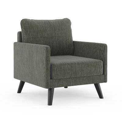 Crisman Armchair Upholstery: Spruce Gray, Finish: Black