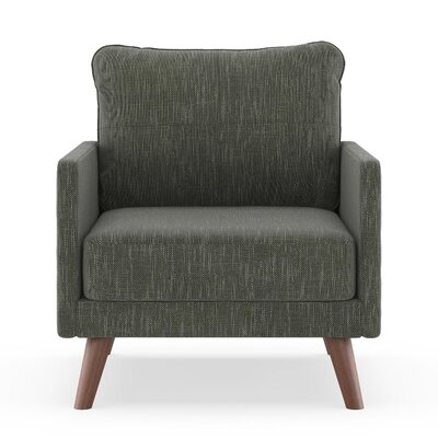 Crisman Armchair Upholstery: Spruce Gray, Finish: Brass