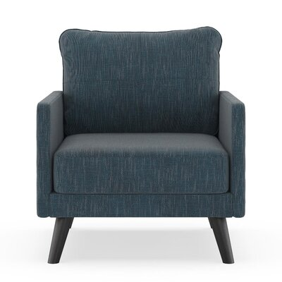Crisman Armchair Upholstery: Navy Gray, Finish: Black