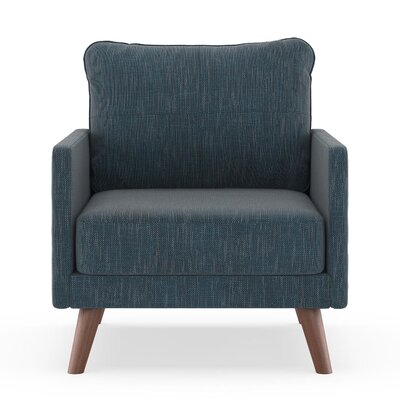 Crisman Armchair Upholstery: Navy Gray, Finish: Brass