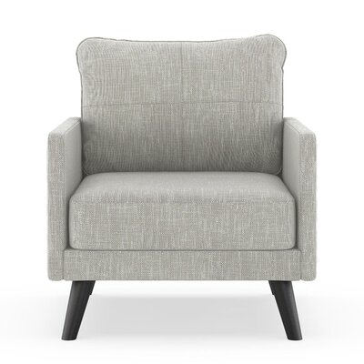 Crisman Armchair Upholstery: Cloud Gray, Finish: Black