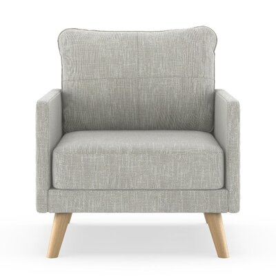 Crisman Armchair Upholstery: Cloud Gray, Finish: Chrome